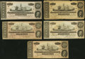 Confederate Notes:1864 Issues, T67 $20 1864 PF-9 Cr. 509; PF-10 Cr. 510; PF-11 Cr. 511; PF-12 Cr. 512; PF-13 Cr. 513.. ... (Total: 5 notes)