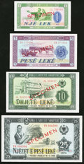 World Currency, A Quartet of Specimen Notes from Albania.. ... (Total: 4 notes)