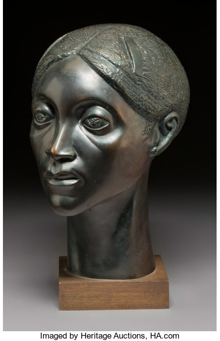Elizabeth Catlett (American, 1915-2012) Glory, 1981 Bronze with black patina 14 inches (35.6 cm) high on a 1-1/2 inch...
