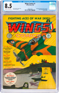 Wings Comics #1 (Fiction House, 1940) CGC VF+ 8.5 Off-white to white pages