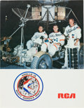 Autographs:Celebrities, Apollo 15 Crew-Signed Color RCA Promo Photo. ...