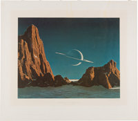 """Chesley Bonestell Signed """"Saturn as Seen from Titan"""" Lithograph"""