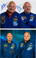 Explorers:Space Exploration, Mark & Scott Kelly Signed Color Photos (Two). ... (Total: 2 Items)