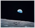 "Explorers:Space Exploration, Frank Borman Signed Apollo 8 ""Earthrise"" Color Photo...."
