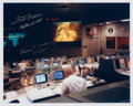 Explorers:Space Exploration, Apollo 13 Mission Control Photo Signed by Fred Haise and Gene Kranz....