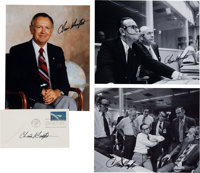 Chris Kraft Signed Photos and Mercury Launch/ First Day Cover (Four Items Total)