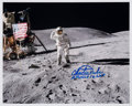 Explorers:Space Exploration, Charlie Duke Signed Apollo 16 Lunar Flag Salute Color Photo. ...