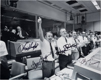 Apollo 13 Mission Control Photo Signed by Gene Kranz, Chris Kraft, Gerry Griffin, and Glynn Lunney