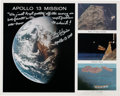 Explorers:Space Exploration, Apollo 13 Mission Composite Color Photo Signed by Fred Haise and Gene Kranz, with Added Comments. ...