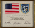 Explorers:Space Exploration, Apollo 10 Flown American Flag and Mission Insignia Patch on Crew-Signed Certificate Presented to Houston Oilers Owner Bud Adam...