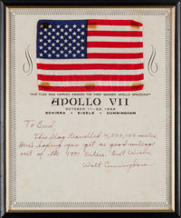 Apollo 7 Flown American Flag on a Certificate Signed by Mission LMP Walt Cunningham Presented to Houston Oilers Owner Bu...