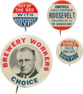 """Political:Pinback Buttons (1896-present), Franklin D. Roosevelt: Four """"Better"""" Slogan and Picture Pins. ..."""