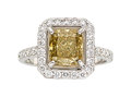 Estate Jewelry:Rings, Fancy Dark Brown-Greenish Yellow Diamond, Diamond, Gold Ring . ...