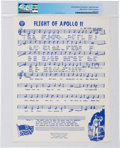 """Explorers:Space Exploration, Apollo 11 Music: """"Flight of Apollo 11"""" Sheet Music and Press Release Directly From The Armstrong Family Collection™, Certified..."""