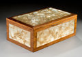 Art Glass:Lalique, R. Lalique Frosted Glass and Mahogany Monnaie du PapeCoffret or Cigar Humidor. Circa 1914. Wheel carved R LAL...