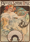 Fine Art - Work on Paper:Print, Alphonse Mucha (Czechoslovakian, 1860-1939). BiscuitsLefevre-Utile, 1897. Lithograph in colors on paper. 23-3/4 x17-1/...