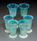 Art Glass:Tiffany , Six Tiffany Studios Pastille Glass Goblets. Circa 1910. EngravedL.C.T. Favrile. Ht. 7-3/4 in. (tallest, goblet). ... (Total:6 Items)