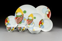 Thirty-Seven Piece Frank Lloyd Wright for Tiffany & Co. Porcelain Cabaret Pattern Dinner Ser