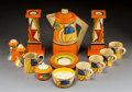 Ceramics & Porcelain, Sixteen Clarice Cliff Pottery Fantasque Pattern Tableware Pieces. Circa 1930. Various stamped marks. Ht. 7-1/2 i... (Total: 16 Items)