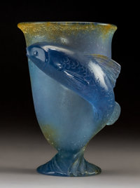 Daum Pate-de-Verre Glass Fish Vase Late 20th century. Engraved Daum, France. <