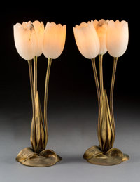 Pair of Albert Cheuret Gilt Bronze and Alabaster Tulip Lamps Circa 1920. Incised