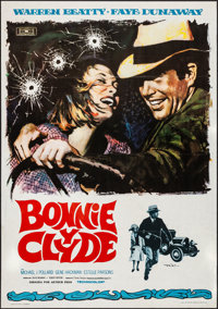 """Bonnie and Clyde (Mundial, 1968). Folded, Very Fine-. Spanish One Sheet (27.5"""" X 39"""") Macario """"Mac""""..."""