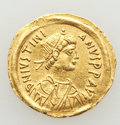 Ancients:Byzantine, Ancients: Justinian I the Great (AD 527-565). AV tremissis (17mm,1.49 gm, 5h). XF. ...