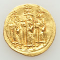 Ancients:Byzantine, Ancients: Heraclius (AD 610-641), with Heraclius Constantine andHeraclonas. AV solidus (20mm, 4.46 gm, 7h). About XF....