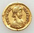 Ancients:Roman Imperial, Ancients: Honorius (AD 393-423). AV solidus (21mm, 4.55 gm, 6h).VF, ex-jewelry....
