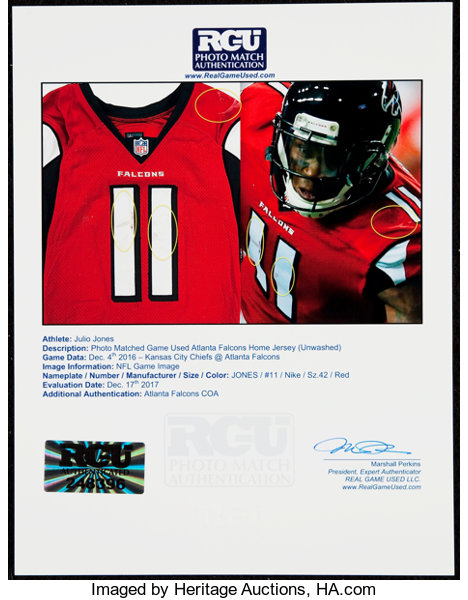 reputable site 9d9ef 45eac 2016 Julio Jones Game Worn, Unwashed Atlanta Falcons Jersey ...