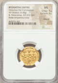 Ancients:Byzantine, Ancients: Heraclius (AD 610-641), with Heraclius Constantine andHeraclonas. AV solidus (21mm, 4.48 gm, 7h). NGC MS 5/5 - 4/5,clipped....