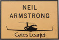 Explorers:Space Exploration, Neil Armstrong: Neil Armstrong's Gates Learjet Name Badge, Circa 1979 Directly From The Armstrong Family Collection™, Certifie...