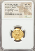 Ancients:Byzantine, Ancients: Justinian I the Great (AD 527-565). AV solidus (20mm,4.47 gm, 7h). NGC Choice AU 5/5 - 4/5....