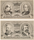 Political:Small Paper (pre-1896), Cleveland & Hendricks and Blaine & Logan: Matching JugateTrade Cards. ... (Total: 2 Items)