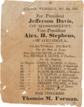 Political:Small Paper (pre-1896), Jefferson Davis: Rare Georgia Ballot....