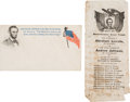 Political:Small Paper (pre-1896), Abraham Lincoln: Patriotic Cover and Pictorial Indiana Ballot. ... (Total: 2 Items)