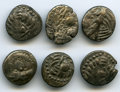 Ancients:Celtic, Ancients: ANCIENT LOTS. Celtic. Eastern Europe. Imitations ofPhilip II of Macedon. Ca. 2nd century BC. Lot of six (6) ARdrachms. Fine-... (Total: 6 coins)