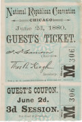 Political:Small Paper (pre-1896), [James A. Garfield]: Ticket to the 1880 Republican NationalConvention. ...