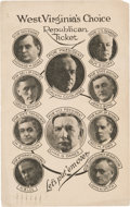 Political:Small Paper (1896-present), Coolidge & Dawes: Rare Multigate Postcard from West Virginia. ...