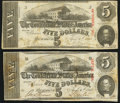 Confederate Notes:1863 Issues, T60 $5 (2) 1863 PF-24 Cr. 462; PF-31 Cr. 463.. ... (Total: 2 notes)