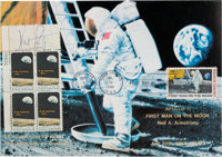 """Neil Armstrong Signed """"Apollo 8"""" Stamp Plate Block on a Colorful """"First Man On The Moon"""" First Day C..."""