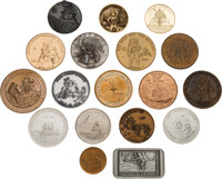 Apollo 11 Medals: Collection of Eighteen, all Depicting the Lunar Module Eagle on the Moon.<