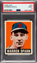 Baseball Cards:Singles (1940-1949), 1948 Leaf Warren Spahn #32 PSA Mint 9 - Pop Four, One Higher! ...