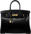 "Luxury Accessories:Bags, Hermès 35cm Black Calf Box Leather Birkin Bag with Gold Hardware. F Square, 2002. Condition: 3. 14"" Width x 10"" He..."