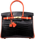 Luxury Accessories:Bags, Hermès Special Order Horseshoe 30cm Shiny Black & BougainvilleaNiloticus Crocodile Birkin Bag with Gold Hardware. ...