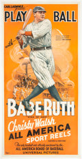 "Baseball Collectibles:Others, Circa 1932 Babe Ruth ""Play Ball"" Original Three-Sheet Poster--Only Known Example!..."