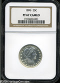 Proof Barber Quarters: , 1896 25C PR67 Cameo NGC. Dazzling, nearly as struck quality, being completely untoned with dramatic contrast between the fi...