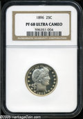 Proof Barber Quarters: , 1896 25C PR68 Ultra Cameo NGC. Magnificent and unbroken Cameo frost endows the devices and legends. The strike is needle-sh...