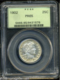 Proof Barber Quarters: , 1902 25C PR65 PCGS. Sharply struck and well preserved, with watery reflectivity in the fields and a light coating of creamy...