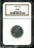 Proof Barber Quarters: , 1905 25C PR66 NGC. A fully brilliant, highly reflective premium Gem that is most attractive and would make a fantastic addi...